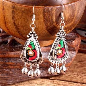 silver boho earring